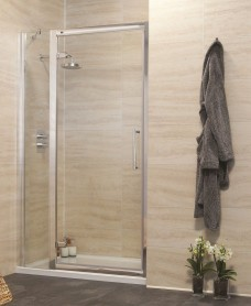 Rival 8mm 1100 Hinge Shower Door with Single Infill Panel - Adjustment 1040 - 1100 mm