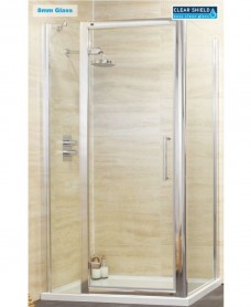 Rival 8mm 1100 Hinge Shower Door with Single Infill Panel & 1000 mm Side Panel
