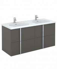 Athena 120cm Gloss Grey Double Vanity Unit with Idea Basin - 4 Drawer