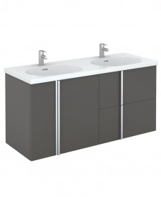Athena 120cm Unit 2 Drawer & 2 Door Gloss Grey & Idea Basin - ** FURTHER REDUCTIONS