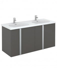 Athena 120cm Gloss Grey Double Vanity Unit with Idea Basin - 4 Doors