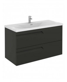 Pravia Gloss Grey 100 cm Wall Hung Vanity Unit and AIDA Basin
