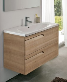 Pravia Walnut 100cm Vanity Unit 2 Drawer and Aida Basin