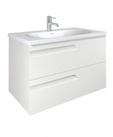 Pravia White 100 cm Wall Hung Vanity Unit and Aida Basin