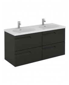 Pravia Gloss Grey 120 cm Wall Hung Double Vanity Unit and AIDA Basin