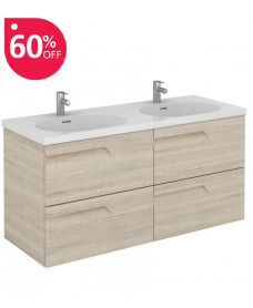 Pravia Maple 120 cm Wall Hung Double Vanity Unit and AIDA Basins - ** 60% Off