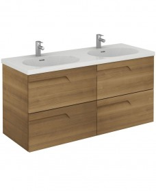 Pravia Walnut 120cm Vanity Unit 4 Drawer and Aida Twin Basin