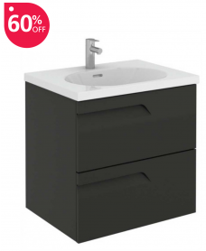 Pravia Gloss Grey 60 cm Wall Hung Vanity Unit and AIDA Basin - 60% off
