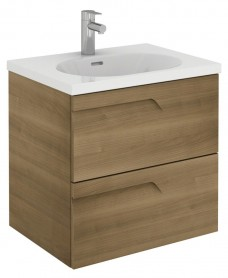 Pravia Walnut 60cm Vanity Unit 2 Drawer and Aida Basin
