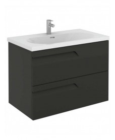 Pravia Gloss Grey 80 cm Wall Hung Vanity Unit and AIDA Basin