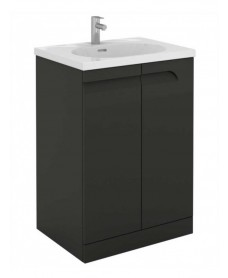 Pravia Gloss Grey 60 cm Floor Standing Vanity Unit and AIDA Basins