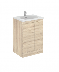 Pravia 60cm Natural Beige Floor Standing Vanity Unit & Idea Basin