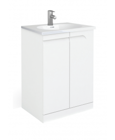 Pravia White 60 cm Floor Standing Vanity Unit and AIDA Basins