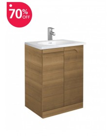 Pravia Walnut 60 cm Floor Standing Vanity Unit and Aida Basin