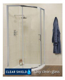 Kyra Range 1000 mm x 1000 mm Quadrant Single Door Shower Enclosure -Adjustment 955 - 980 mm