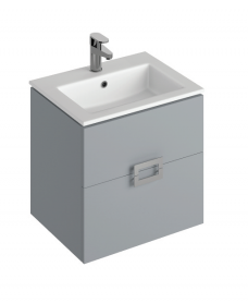 Ava Pearl Grey 55 cm Wall Hung Vanity Unit and Basin