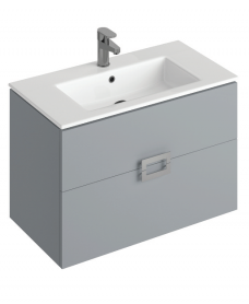 Ava Pearl Grey 80 cm Wall Hung Vanity Unit and Basin