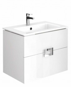 Ava Gloss White 65 cm Wall Hung Vanity Unit and Basin