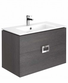 Ava Dark Wood 80 cm Wall Hung Vanity Unit and Basin