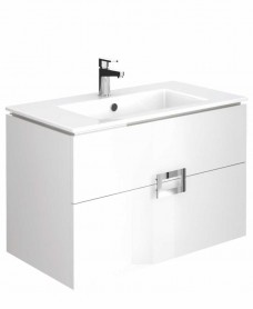 Ava Gloss White 80 cm Wall Hung Vanity Unit and Basin