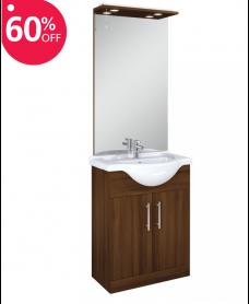 Blanco Walnut 65cm Vanity Unit, Basin and Mirror