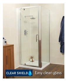 Kyra Range 760/800 x 800mm Pivot Shower Door - Adjustment with side panel 745 -800mm