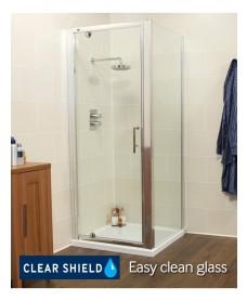 Kyra Range 760/800 x 760mm Pivot Shower Door - Adjustment with side panel 745 - 800mm