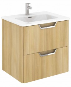 Metz Oak 60 cm Wall Hung Vanity Unit and Basin