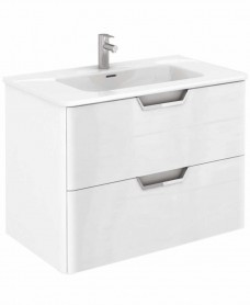 Metz Gloss White 80 cm Wall Hung Vanity Unit and Basin