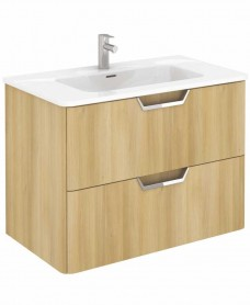 Metz Oak 80 cm Wall Hung Vanity Unit and Basin