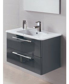 Ramia Gloss Grey 80cm Vanity Unit 2 Drawer and Basin  *A Further 10% off with Code JAN10