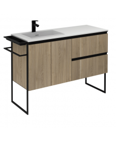 Essence 120cm Unit Oak with Moon Basin and 100mm Shelf