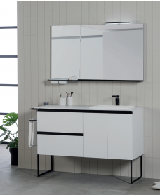 Essence 120cm Unit Matt White with Moon Basin and 100mm Shelf