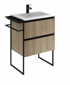 Essence 60cm Unit Oak with Moon Basin and 100mm Shelf