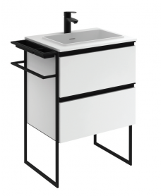 Essence 60cm Unit Matt White with Moon Basin and 100mm Shelf
