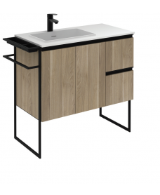 Essence 90cm Unit Oak with Moon Basin and 100mm Shelf