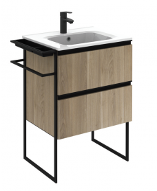 Essence 60cm Unit Oak with Notte Basin and 100mm Shelf