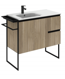 Essence 90cm Unit Oak with Notte Basin and 100mm Shelf