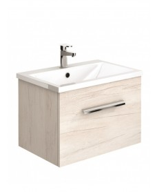 Vanore Light Wood Slimline 50cm Wall Hung Vanity Unit