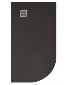 Slate 1000X800 Offset Quadrant Shower Tray LH Black - with FREE Waste