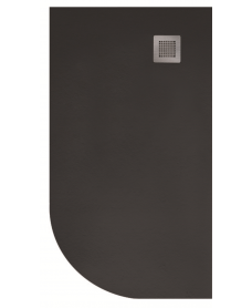 Slate 1000X800 Offset Quadrant Shower Tray RH Black - with FREE Waste