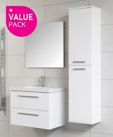 Soho Wall Hung Vanity Unit Pack with Mirror and Tap - Space Saving Depth