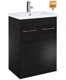 Paola 60cm Slimline Vanity Unit 2 Door Hacienda Black and Basin