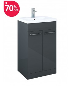Paola 50cm Slimline Vanity Unit 2 Door Anthracite and Basin