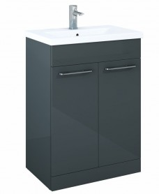 Paola 60cm Slimline Vanity Unit 2 Door Anthracite and Basin