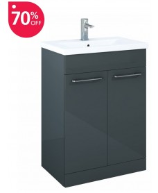 Paola 60cm Slimline Vanity Unit 2 Door Anthracite and Basin - ** 70% Off