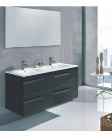 Pravia Gloss Grey 120 cm Wall Hung Double Vanity Unit and SLIM Basin