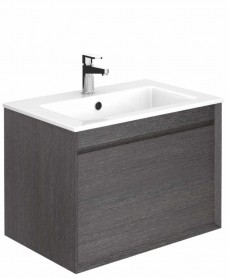 Regine Dark Wood 65 cm Wall Hung Vanity Unit and Basin