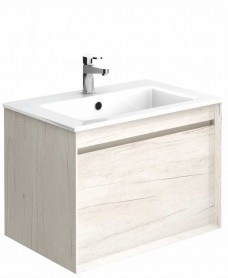 Regine Light Wood 65 cm Wall Hung Vanity Unit and Basin