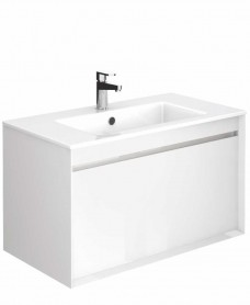 Regine Gloss White 80 cm Wall Hung Vanity Unit and Basin
